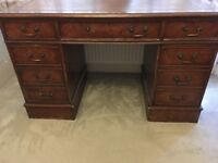 Antique style leather top writing desk