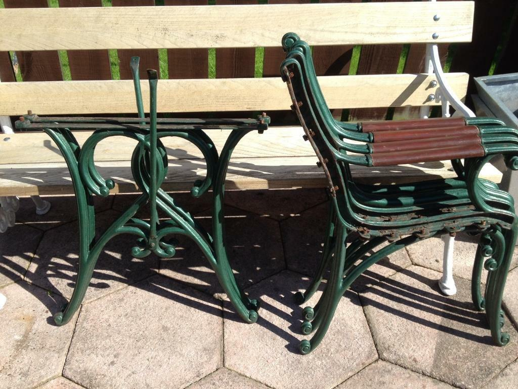 Cast Iron Art Deco Style Garden Bench Ends And Table Legs