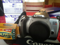 FILM Camera ---> Canon 300V camera + Fujifilm CR2 batteries + Kodak film
