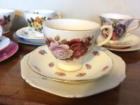 Vintage cup/saucer/plate trios (5 available)
