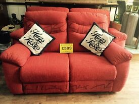 Red fabric 3+2 seater settees