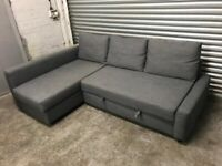 FREE DELIVERY IKEA FRIHETEN GREY L-SHAPED CORNER SOFA BED WITH STORAGE