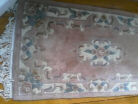 Chinese rug in soft pinks, cream and teal, Chinese