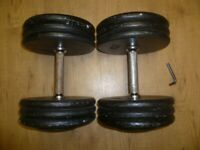 32.5KG CAST IRON PAIR of DUMBBELLS with ALAN KEY - COMMERCIAL STANDARD