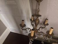 Vintage 1945/50s brass chandelier