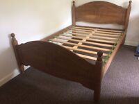 PRE OWNERD DOUBLE WOODEN FRAME BED ,NO MATTERSS
