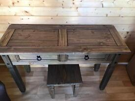 Dark pine dressing table and stool