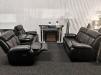 Miami Black 3 + 2 Sofa Suite Set PU Leather BRAND NEW