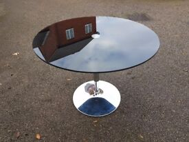 Round Black Glass & Chrome Dining Table FREE DELIVERY 162