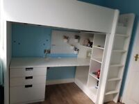White Loft Bed with drawers and shelves - Ikea Stuva