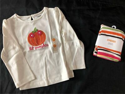 Striped Leggings For Halloween (Gymboree FALL FOR AUTUMN  Pumpkin Shirt Top 3 3T Leggings Halloween)