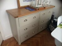 Oak chest of drawers - light grey