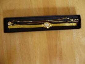 Watch and pendant set, gold plated, NEW