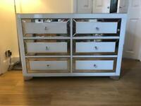 Fishpools Bianca 6 chest of drawers mirrored in silver and white