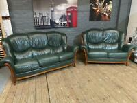 STUNNING LEATHER SOFA WITH WOODEN FRAME 3+2 seater like new