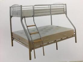 Triple sleeper silver bunk bed