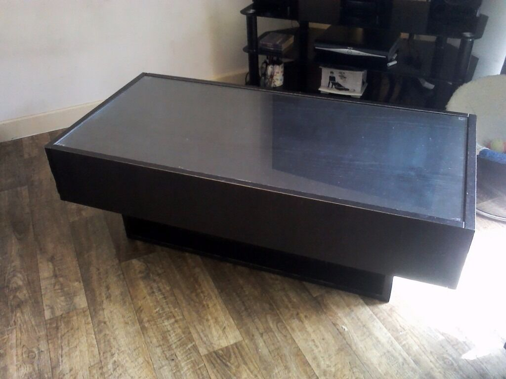 Ikea Ramvik Black Brown Gl Top Coffee Table With 2 Drawers