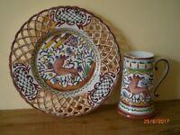 Matching Wall Plate and Tankard / Vase