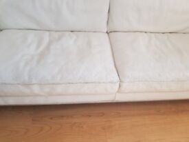Creamy white 3 seater leather sofa £50
