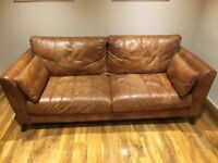 3 and 1 Seater Natural Leather Couch