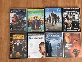DVDs, star wars, Everest, lady in the van, blue jasmine etc.