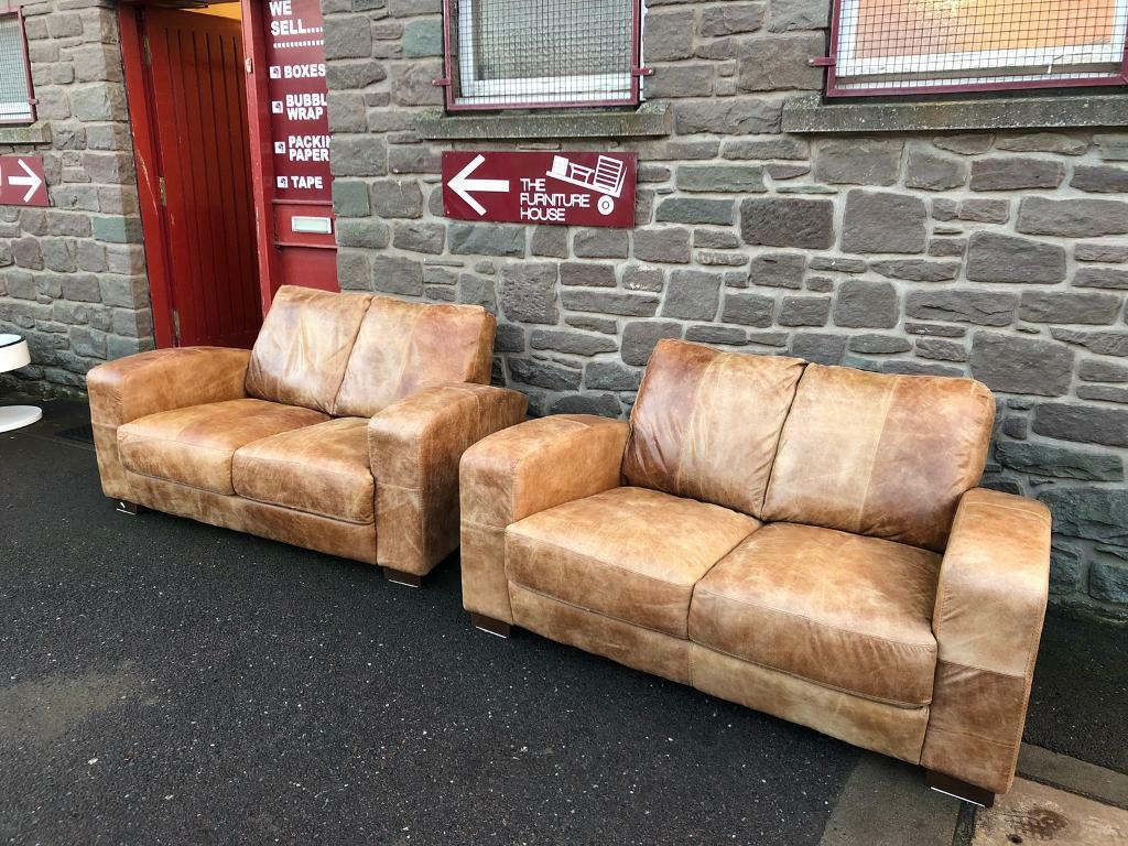 Pair Of Tan Leather Sofas Suite Free Furniture Delivery In