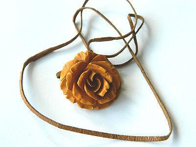 VTG Carved Amber Bakelite ROSE PENDANT w/ Leather Cord, Vintage Fashion 1950s