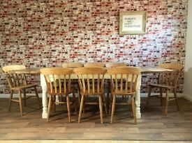 Oak Style Extendable Dining Table Set with Antique Chairs Up to Twelve Seater Rustic Farmhouse