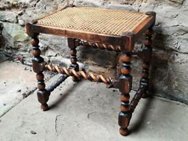 Lovely antique barleytwist oak stool with woven top