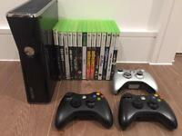 Xbox 360 with 3 wireless controllers and games included