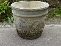 Vintage Cast Stone Garden Planter Garden Pot with Floral Decoration 31.5cm Tall