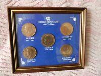 British Monarchs framed 1d coin set + extra ½d,1d and 3d coins