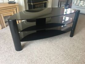 T.V. Stand with Shelves. Black Glass.
