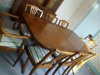 Yew dining table, 8 chairs and display cabinets in excellent condition - original Strongbow handmade