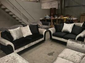 Brand new silver and black crushed velvet 3 + 2 seater sofa suite
