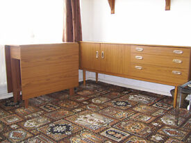 Schreiber 1970's sideboard and gate leg table retro style