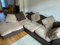 3 seater L-shaped brown sofa