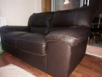 Vogue dark brown full leatger two seater