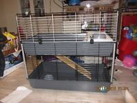Rabbit Cage, with two floors + Play tunnel + Bin for storage