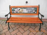 Cast Iron Bench Childs African Big Five Animals on Back Plate! Cast Iron Back/Ends