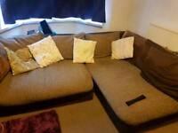 FREE Large brown corner sofa and foot stool