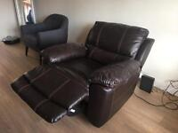 Electric recliner 1 seat dark brown leather look chair