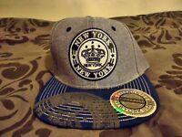 Grey/Blue Denim Style NEW YORK City Hunter Snapback Hat Cap: Unisex