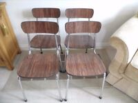4 x RETRO 1960s TAVO BELGIUM CHROME FRAME & WOOD FORMICA KITCHEN DINING CHAIRS