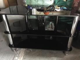 Glass tv shelving unit