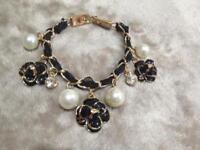 Chanel style Camellia gold&black tone pearl bracelet