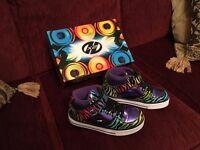 Girls Heelys - Cruz X2 purple rainbow zebra size 1 - never worn in box