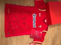 Signed Wales Rugby shirt with box