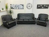 Black chesterfield leather sofa & 2 armchairs