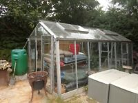 Glass greenhouse (2.5m x 5m), 8 panes damaged, Dismantling required by person(s) collecting.